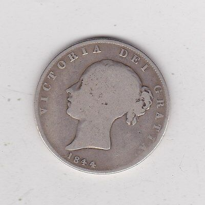 1844 Victorian Silver Halfcrown A Well Used Fair Condition