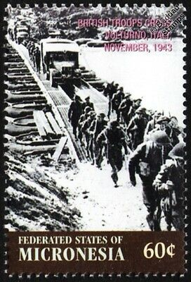 WWII 1943 British Army Crossing Pontoon Bridge Over Volturno River (Italy) Stamp