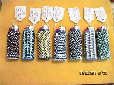 Hand Beaded Original Design Lighter Cases..Blues.Collection