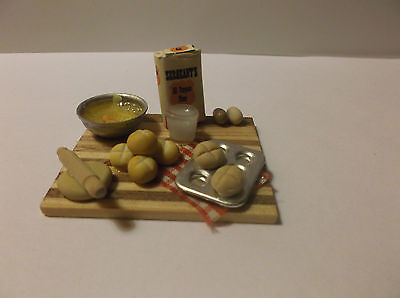 Miniature Doll House Wooden Board With Bowl, FLour, Eggs, Milk and Rolls