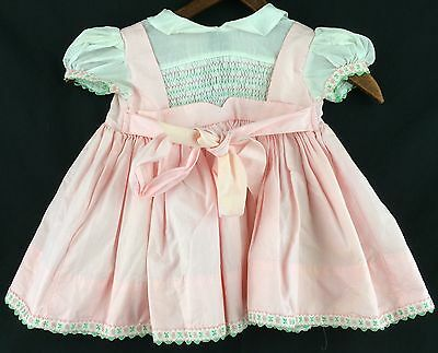 Vintage Hand Smocked Polly Flinders Pink Summer Baby Dress Size 3