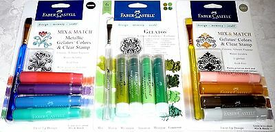 Faber-Castell Mix & Match GELATOS Colors & Clear Stamp LOT of 3