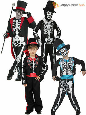 Boys Skeleton Suit Bond Day Of The Dead Groom Costume Halloween Fancy Dress Kids
