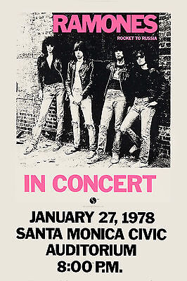 The Ramones at Santa Monica * Rocket to Russia * Tour Poster  Large Format 24x36