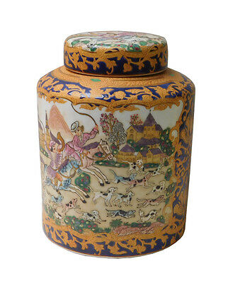 Chinese Oriental Porcelain People & Dominos Puppy Container Box w216