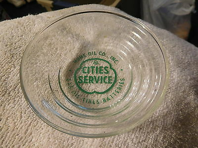 Vintage Cities Service Oil Gas Co Logo Glass Ad Ashtray candy dish,tires,battery