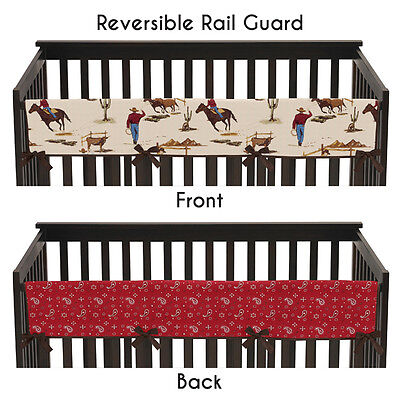Western Cowboy Long Front Rail Guard Baby Boy Teething Cover Crib Protector Wrap