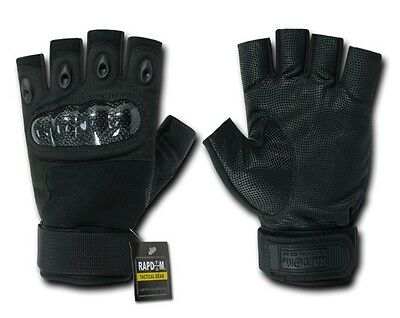 US Half Finger Army Military SWAT Police Hard Knuckle Handschuhe Gloves black  L