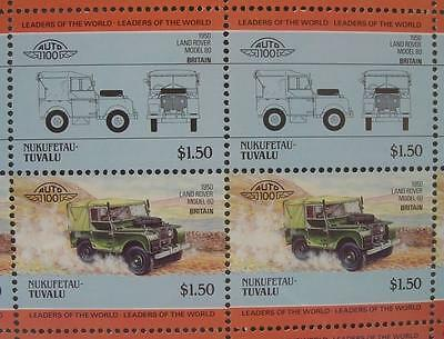1950 LAND ROVER Model 80 Landrover Car 50-Stamp Sheet Auto 100 Leaders of World
