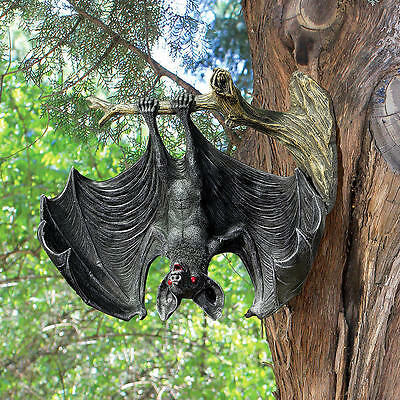 Sinister Vampire Bat on Tree Limb Halloween Prop Wall Sculpture NEW
