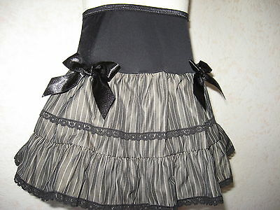 NEW Baby Girls Black grey Pinstripe lace Gift Skirt Alternative Clothing Rock