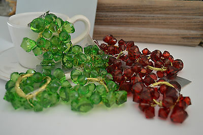 Gisela Graham Green/Red Crystal Table Candle Ring (set of 4)