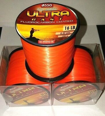 ASSO ULTRA CAST Fluorocarbon Coated Fishing Line - 4oz Spool - ORANGE - All B/S