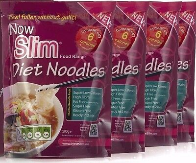 NOW SLIM DIET NOODLES 6 CALORIES, 0 CARBS, 4 x 200g PACKS,SLIMMING KONJAC FOODS