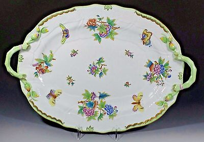 Herend Hvngary Gold Rim Queen Victoria Large Oval Serving Platter W/branch