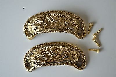 Pair brass antique cup drawer handle dresser draw pull handle c/w screws 2002