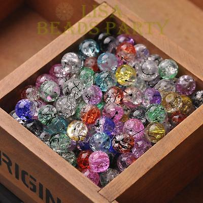 10/50pcs 10mm Round Crystal Glass Charms Loose Spacer Beads Jewelry Making