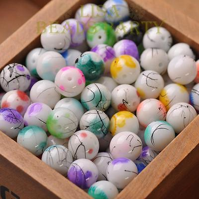 10mm 12mm Round Ball Glass Jewelry Making Loose Spacer Beads Bulk Lot Charms