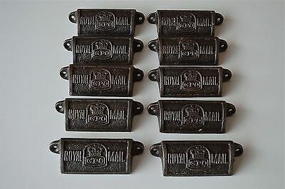 10 vintage cast iron Royal Mail GPO drawer pull handles chest post office GPO