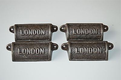 4 vintage cast iron London drawer pull handles chest LON