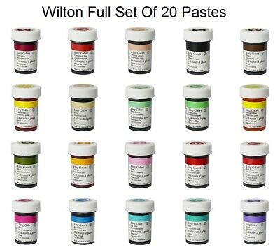 Wilton Full Set / 20 Icing Colour Paste Gel Color Sugarcraft Food Cake Colouring