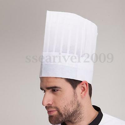 29 x 29cm White Non Woven Disposable Chefs Hat Cap Restaurant Hotel Food Cooking