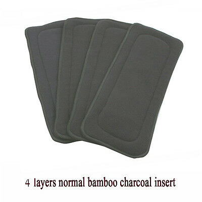 Reusable Cloth Diaper Nappy 4 Layers Microfiber Bamboo Charcoal Insert Baby Use