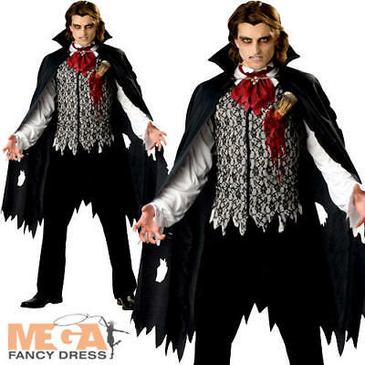 MENS VAMPIRE IN A COFFIN COSTUME HALLOWEEN FANCY DRESS NOVELTY COUNT DRACULA