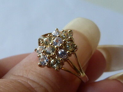 vintage 9ct gold three row cluster  stone  ring