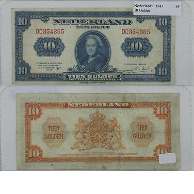 1943 10 Gulden Banknote from the Netherlands in Extra Fine Condition.