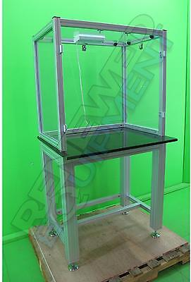 Clear Acrylic Table Top Hood Enclosure with Granite Topped Stand #3
