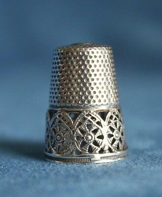 Unusual Antique Sterling Silver FILIGREE Pierced Arts & Crafts Sewing Thimble
