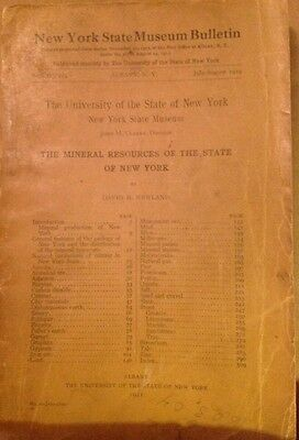 Original New York State Museum Bulletin Mineral Resources 1919 SUNY