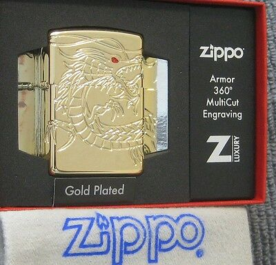 ZIPPO  ARMOR Lighter GOLD PLATED Chinese Dragon 4 Sides MULTI CUT  Mint In Box