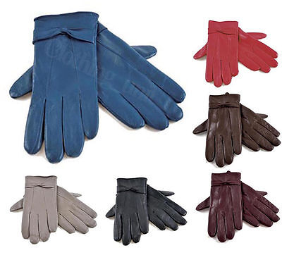 Ladies Soft Coloured Leather Warm Lined Driving Gloves Bow Design S/M M/L