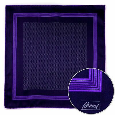 Men's BRIONI Black Purple Spiral Silk Hand Rolled Pocket Square Handkerchief