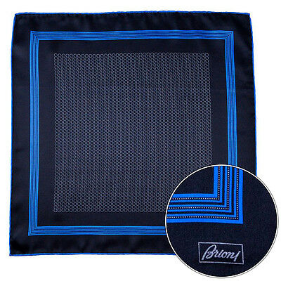 Mens BRIONI Black Blue Spiral Silk Hand Rolled Pocket Square Handkerchief Hanky