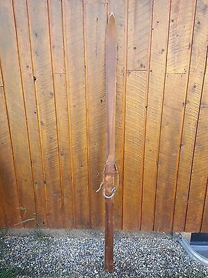 """VINTAGE Wooden SINGLE Ski 74"""" Long Have GREAT Patina Finish with Binding"""