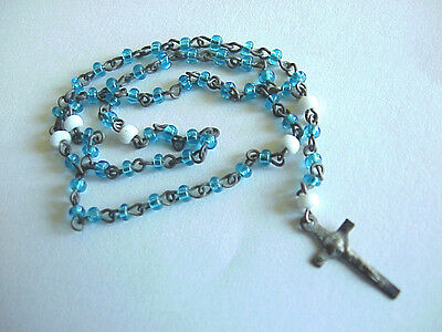 "Antique Blue & White Glass 59 Bead Precious 6"" Miniature Rosary Beads Vintage"