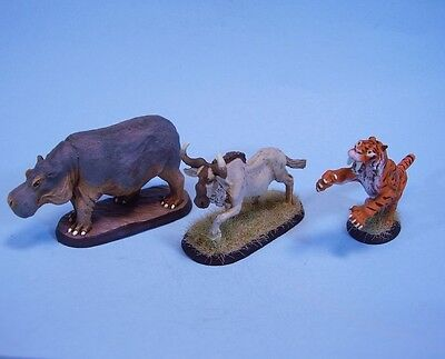 Clearance painted miniature  Hippo, Gnu, Tiger