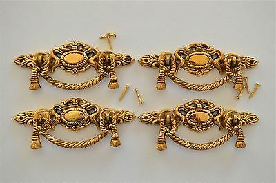 4 Regency brass rope swag drawer handle draw pull desk chest cabinet 2020