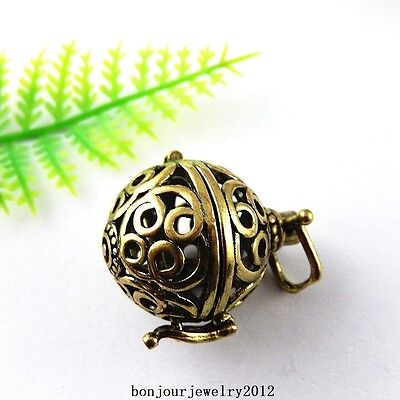 51420 Vintage Bronze Copper Harmony Ball Mexican Bola Bell Pendants Jewelry 3pcs