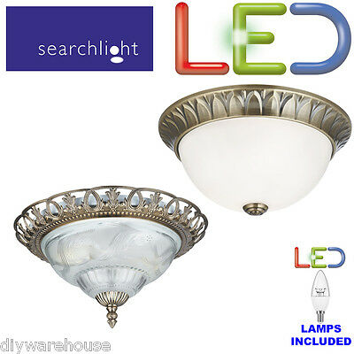 Searchlight Antique Brass Flush Led Ceiling Light Frosted Glass Diffuser. Bnib