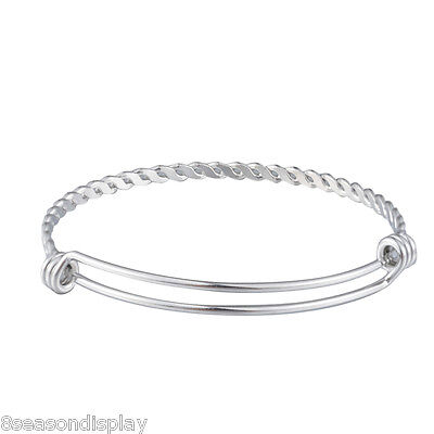 Fashion Weave Knit Style 316L Stainless Steel Bangle Bracelet Adjustable