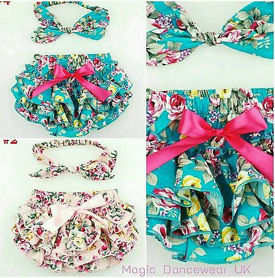 Baby Girls Frilly Floral Knickers Bloomers Headband Boutique Cake Smash wedding