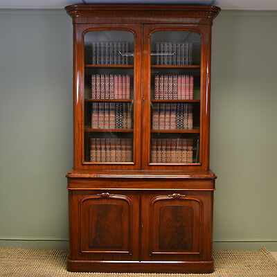 Magnificent Large Victorian Figured Mahogany Antique Library Bookcase