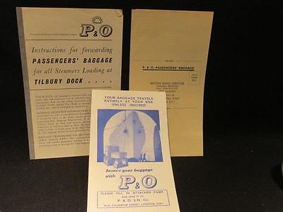 P & O Cruise Line Vintage Baggage Ephemera: Forwarding Instructions, Insurance