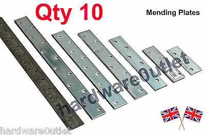 Qty 10 - Mending Plates Galvanised Strap 30 x 2.5 mm Select Length 100 - 1000mm
