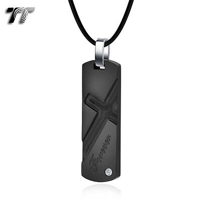 TT Black Cross Stainless Steel Dog Tag Pendant Necklace (NP315D) NEW