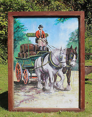 Large Vintage Pub Sign Horse and Dray